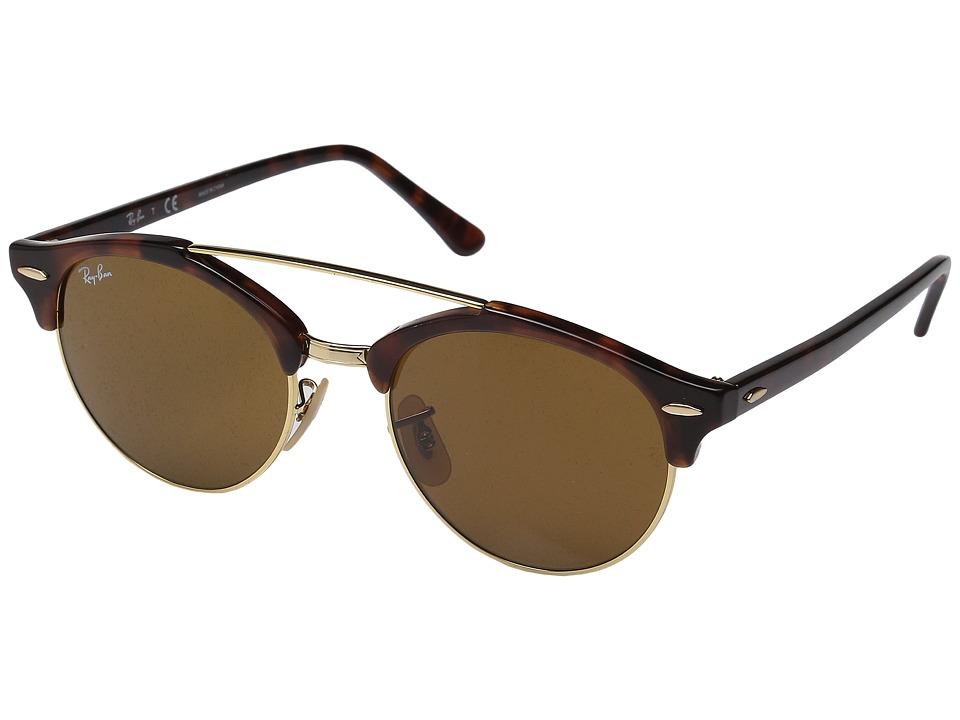Ray-Ban 0RB4346 Clubround Double Bridge 51mm (Havana/Brown) Fashion Sunglasses