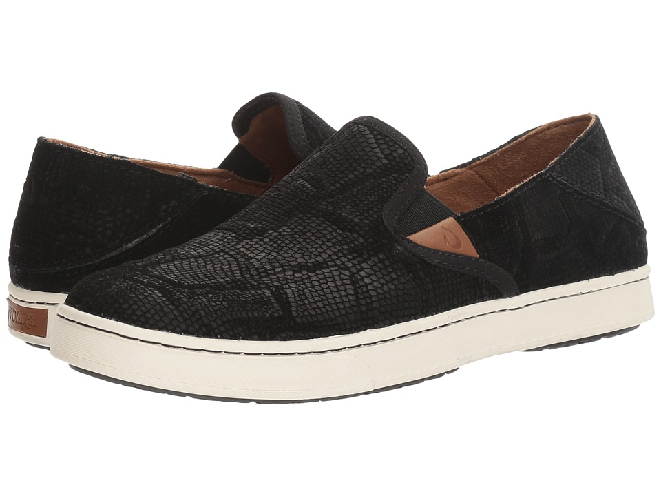 OluKai Pehuea Leather (Black Honu/Black) Women