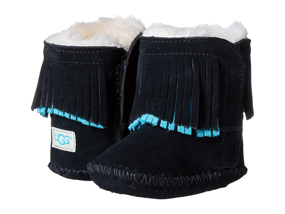 UGG Kids Branyon Fringe (Infant/Toddler) (Black) Girls Shoes