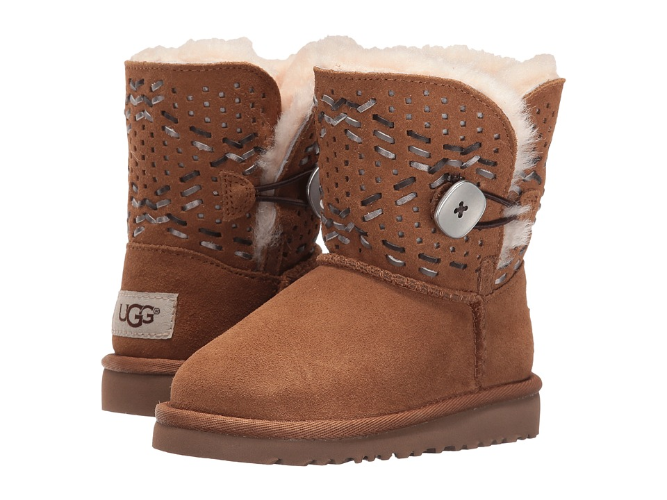 UGG Kids Bailey Button Tehuano (Toddler/Little Kid) (Chestnut) Girls Shoes