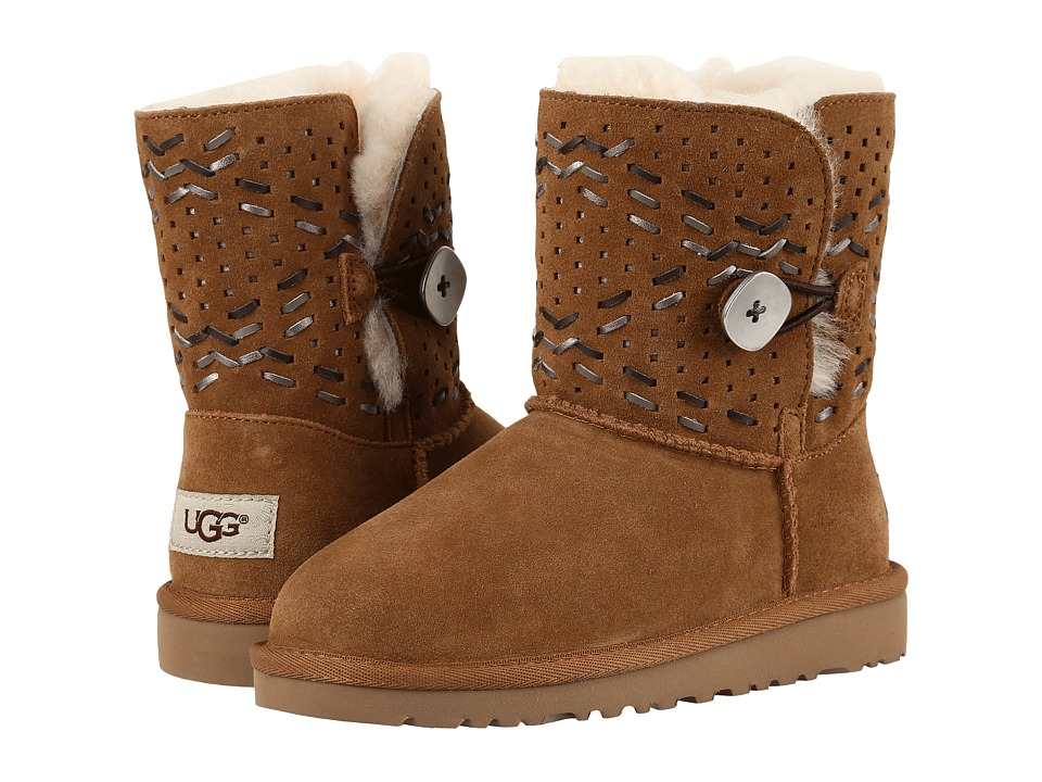 UGG Kids Bailey Button Tehuano (Little Kid/Big Kid) (Chestnut) Girls Shoes