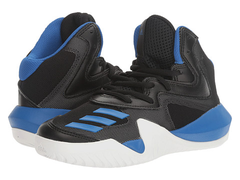 adidas Kids Crazy Team Basketball (Little Kid/Big Kid) - Core Black/Blue/Utility Grey
