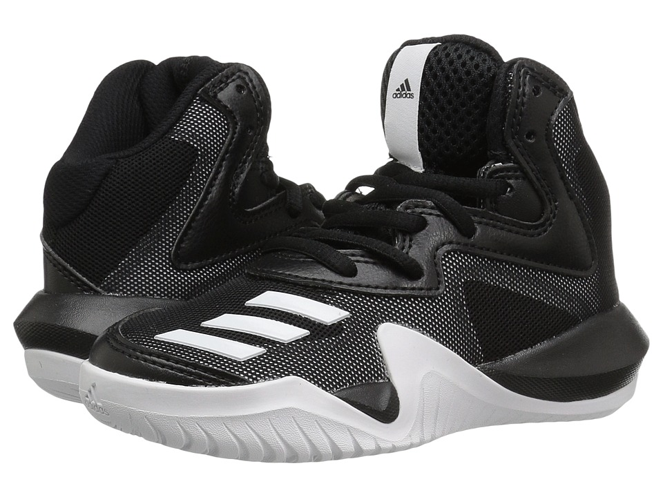 adidas Kids Crazy Team Basketball (Little Kid/Big Kid) (Core Black/Core Black/Solid Grey) Boys Shoes