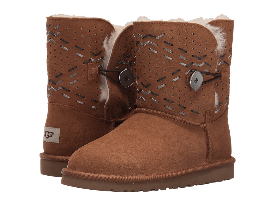 UGG Kids Bailey Button Tehuano (Big Kid) (Chestnut) Girls Shoes