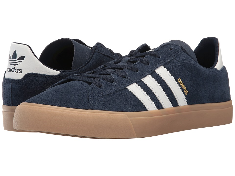 adidas Skateboarding - Campus Vulc II ADV (Collegiate Navy/White/Gum) Mens Skate Shoes