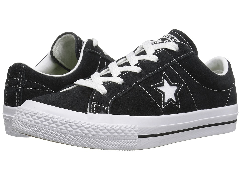 Converse Kids One Star Ox (Little Kid) (Black/White/Gum) Kids Shoes