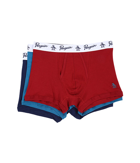 Original Penguin 100% Cotton 3 Pack Trunk - Biking Red/Seaport/Medieval Blue