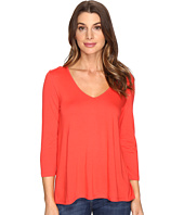 Lilla P - 3/4 Sleeve Pleat Back V-Neck