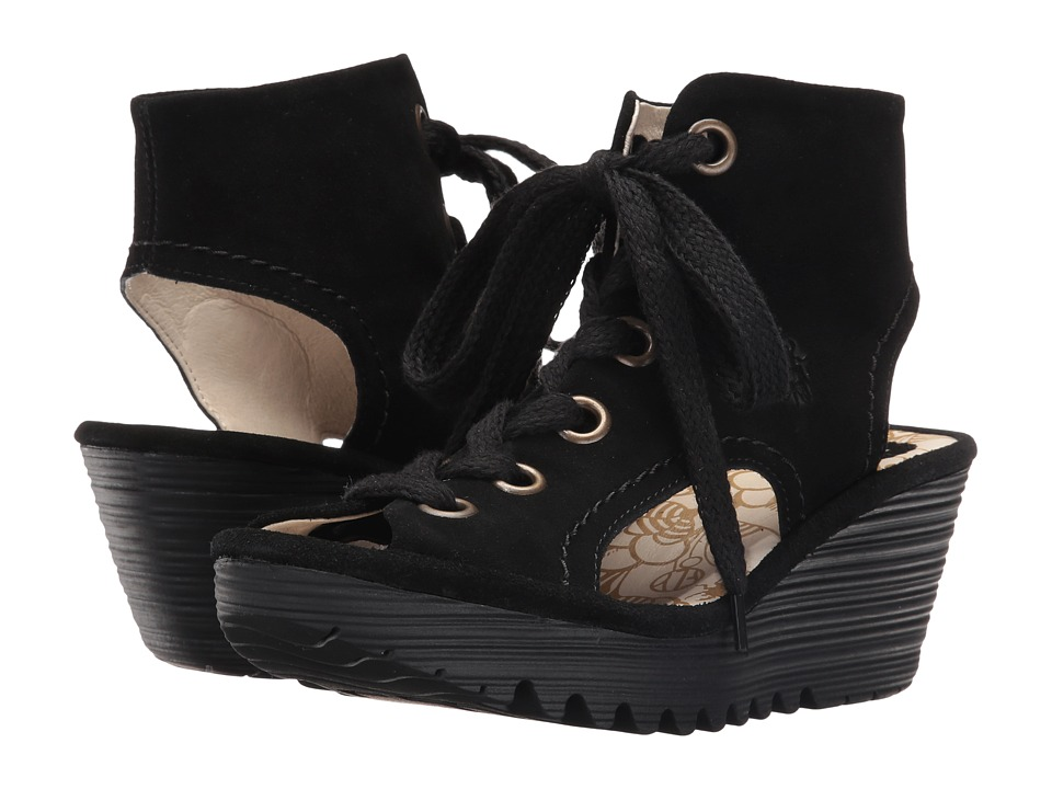 Fly London Yaba702Fly (Black Suede) Women's Shoes