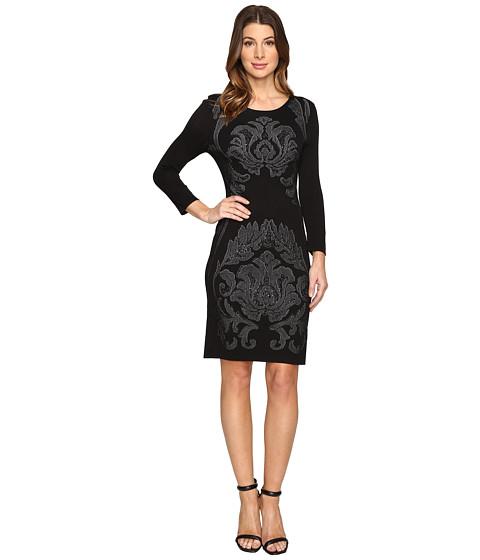 Laundry by Shelli Segal 3/4 Sleeve Jacquard Sweater Dress with Embellishment - Black