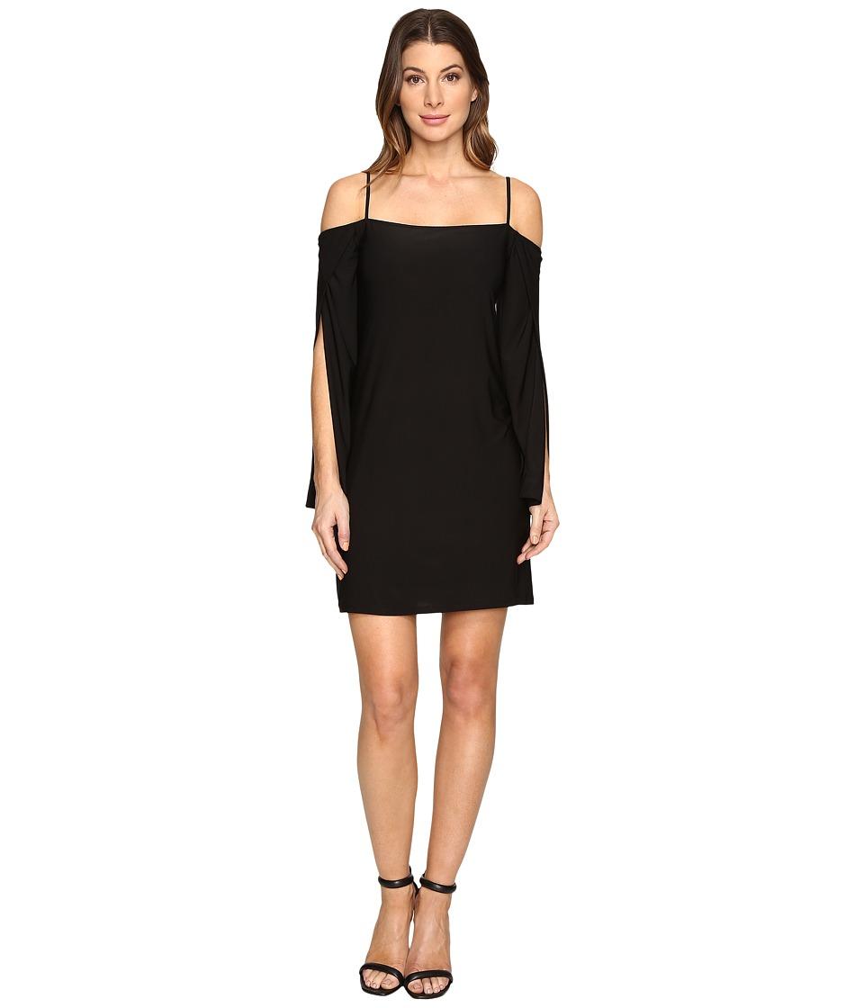 Laundry by Shelli Segal Long Wrap Slit-Sleeve Off the Shoulder Cocktail Dress (Black) Women