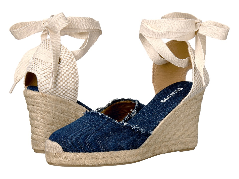 1940s Style Shoes Soludos - Tall Wedge Dark Denim Womens Wedge Shoes $95.00 AT vintagedancer.com