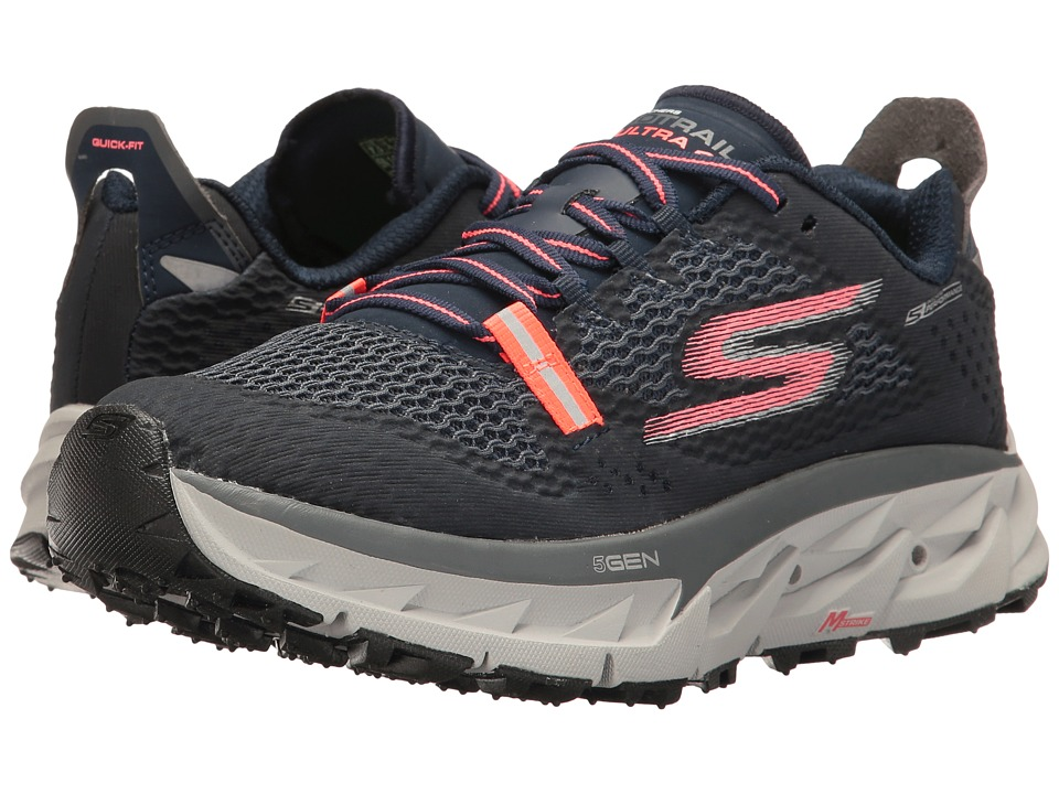 SKECHERS - Go Trail Ultra 4 (Navy/Coral) Womens Running Shoes
