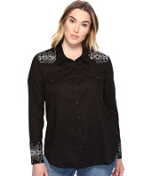 Stetson - Plus Size Solid Lawn - Black Long Sleeve Western Shirt