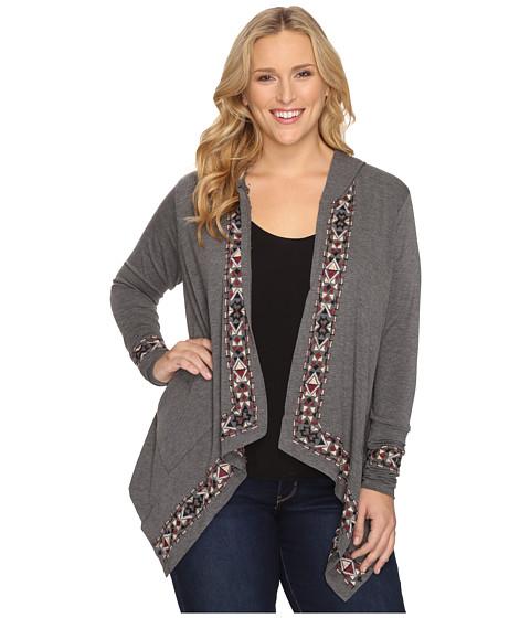 Stetson Plus Size Heather Charcoal Rayon Cardigan