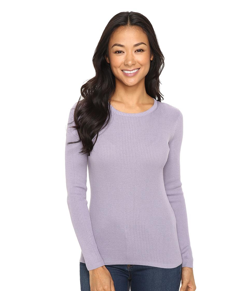 Pendleton - Petite Rib Jewel Neck Pullover (Lavender Grey) Women