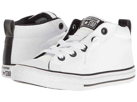 Converse Kids Chuck Taylor All Star Street Mid (Little Kid/Big Kid) - White/White/Black
