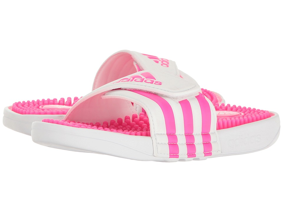 adidas Kids Adissage (Toddler/Little Kid/Big Kid) (White/Shock Pink/Footwear White) Girls Shoes