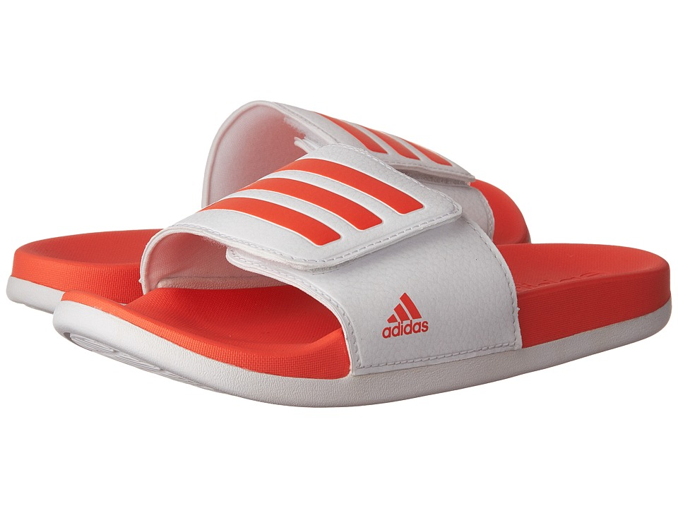 adidas Kids Adilette CLF Ultra Adjustable (Toddler/Little Kid/Big Kid) (Footwear White/Easy Coral/Footwear White) Girls Shoes