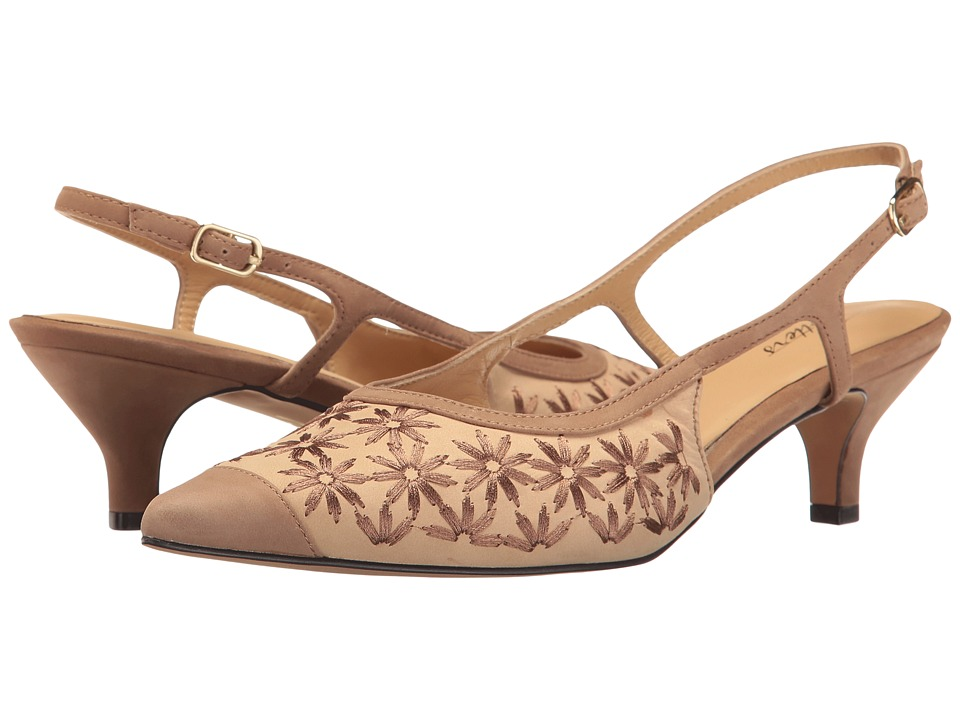 Retro Vintage Style Wide Shoes Trotters - Kimberly Dark TanSandBronze Flower Womens Slip-on Dress Shoes $139.95 AT vintagedancer.com