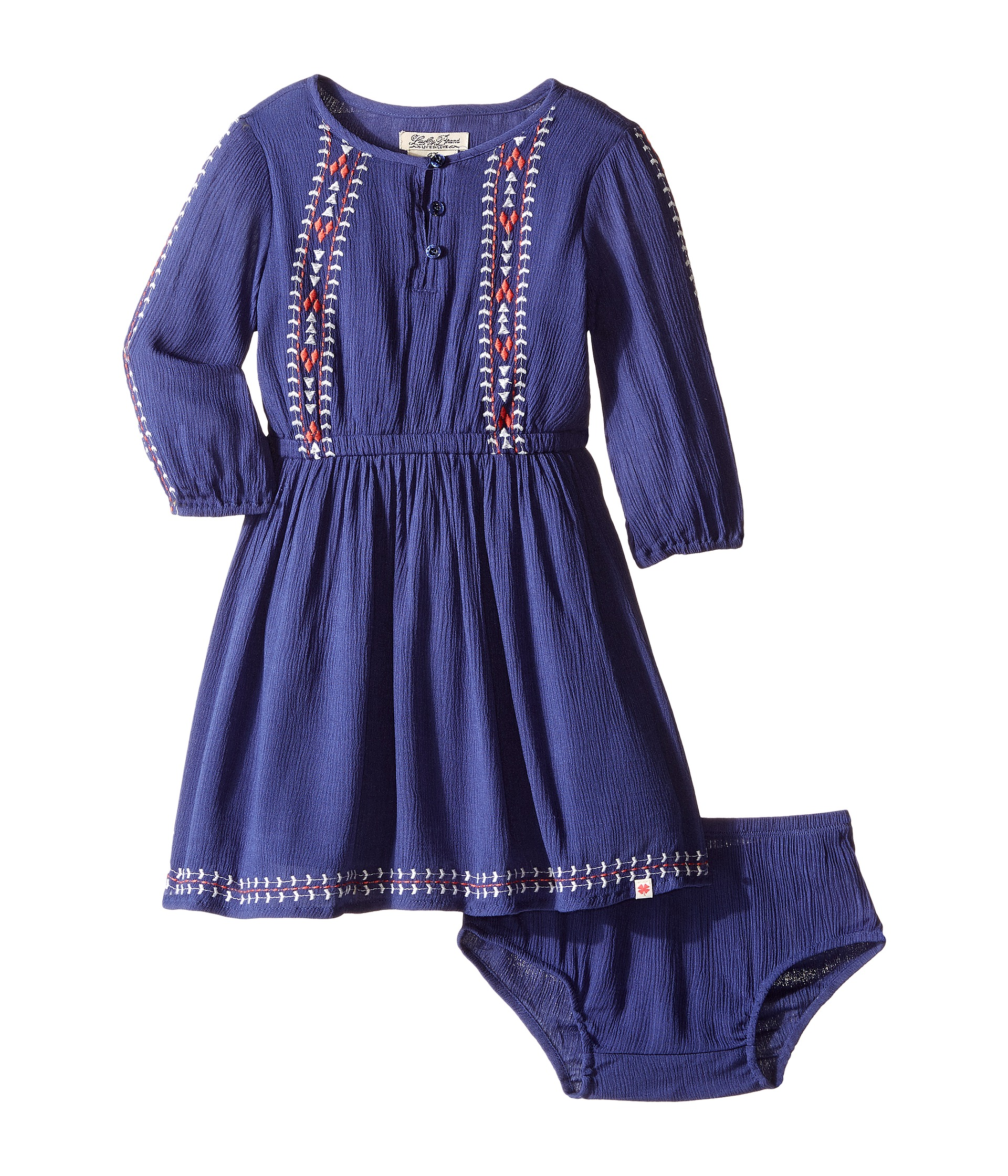 Lucky brand kids rayon crinkle gauze embroidered dress