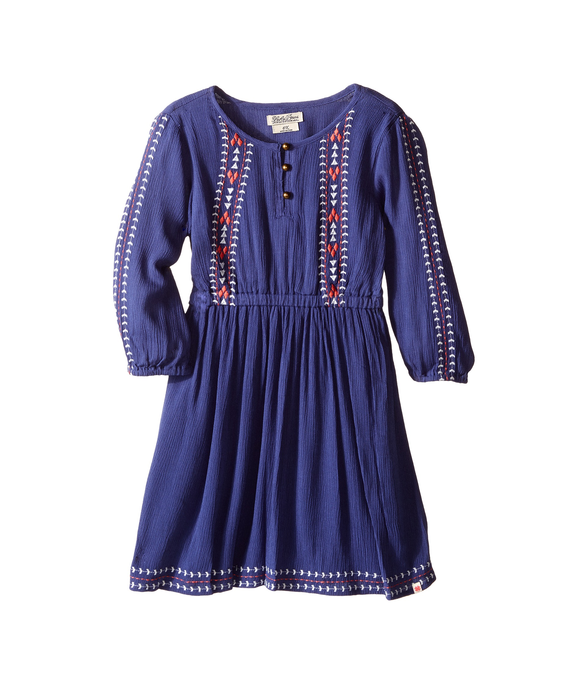 Lucky brand kids rayon crinkle gauze embroidered dress and