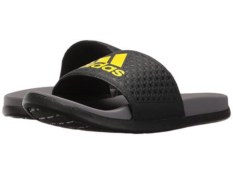 adidas Kids Adilette SC Plus Logo (Toddler/Little Kid/Big Kid) - Black/Trace Grey/Bright Yellow