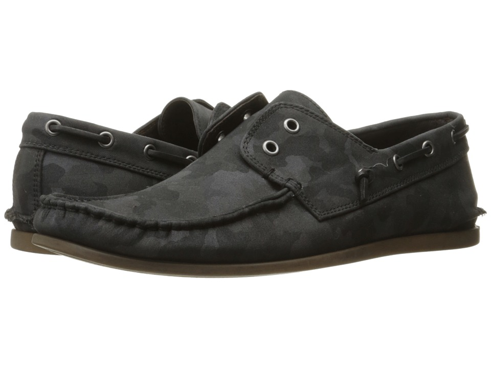 John Varvatos Schooner Boat Dark Charcoal Mens Slip on Shoes