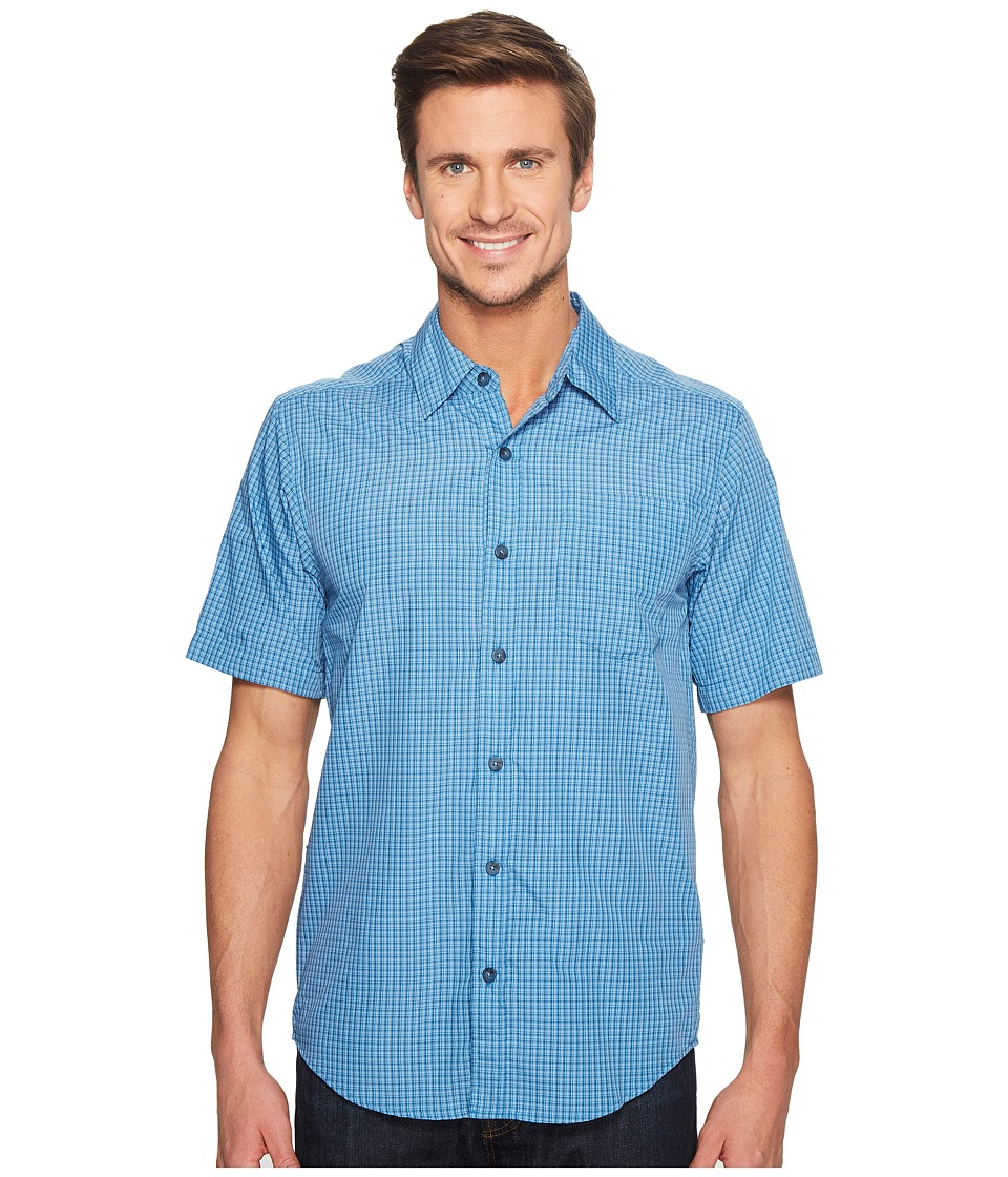 ExOfficio Salida Plaid Short Sleeve Shirt (Deep Water) Men