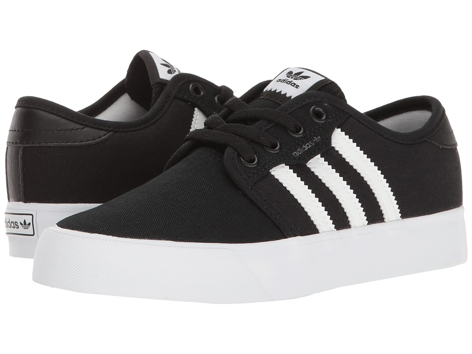 adidas Skateboarding - Seeley J (Little Kid/Big Kid) (Black/White/Black 2) Skate Shoes