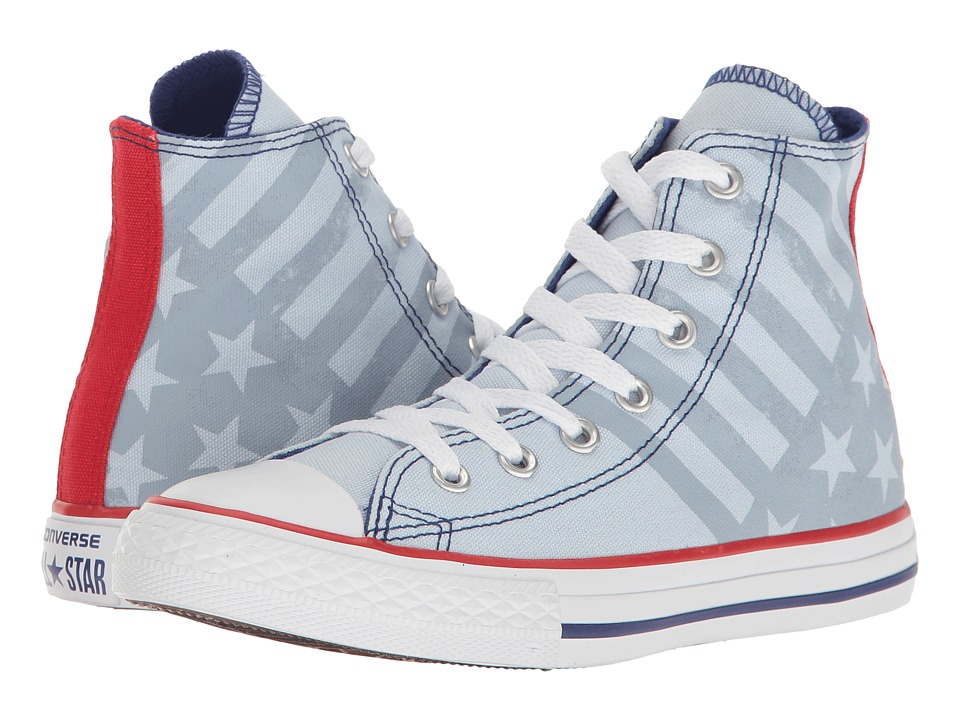 Converse Kids - Chuck Taylor All Star Hi (Little Kid/Big Kid) (Porpoise/True Indigo/White) Kids Shoes