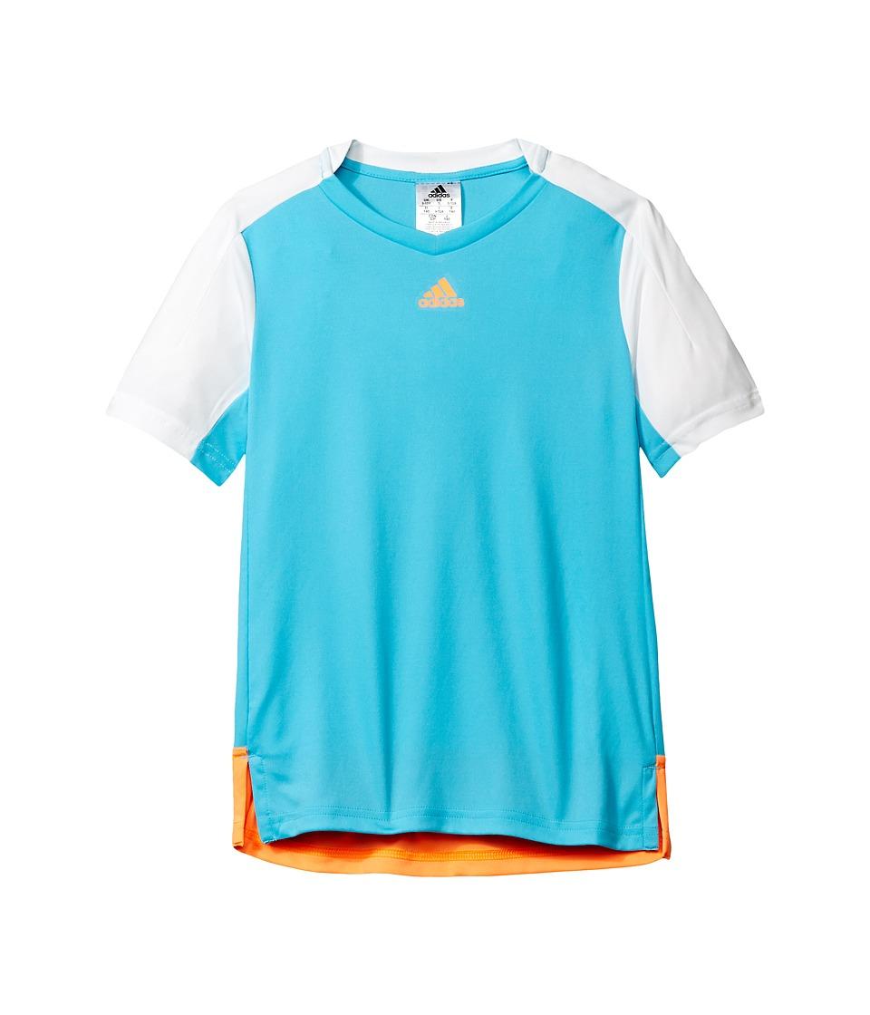 adidas Kids Melbourne Line Tee (Little Kids/Big Kids) (Samba Blue/White/Glow Orange) Boy