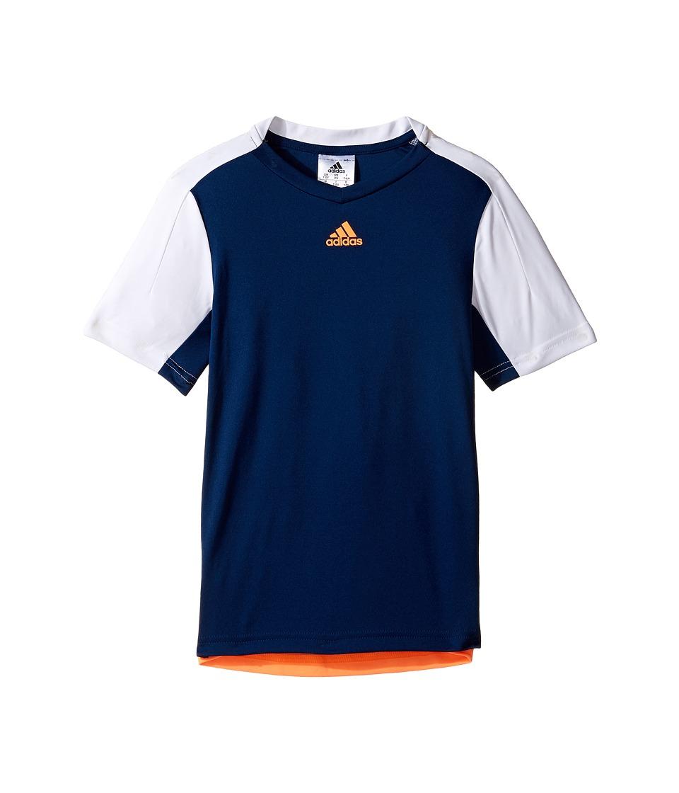 adidas Kids Melbourne Line Tee (Little Kids/Big Kids) (Mystery Blue/White/Glow Orange) Boy