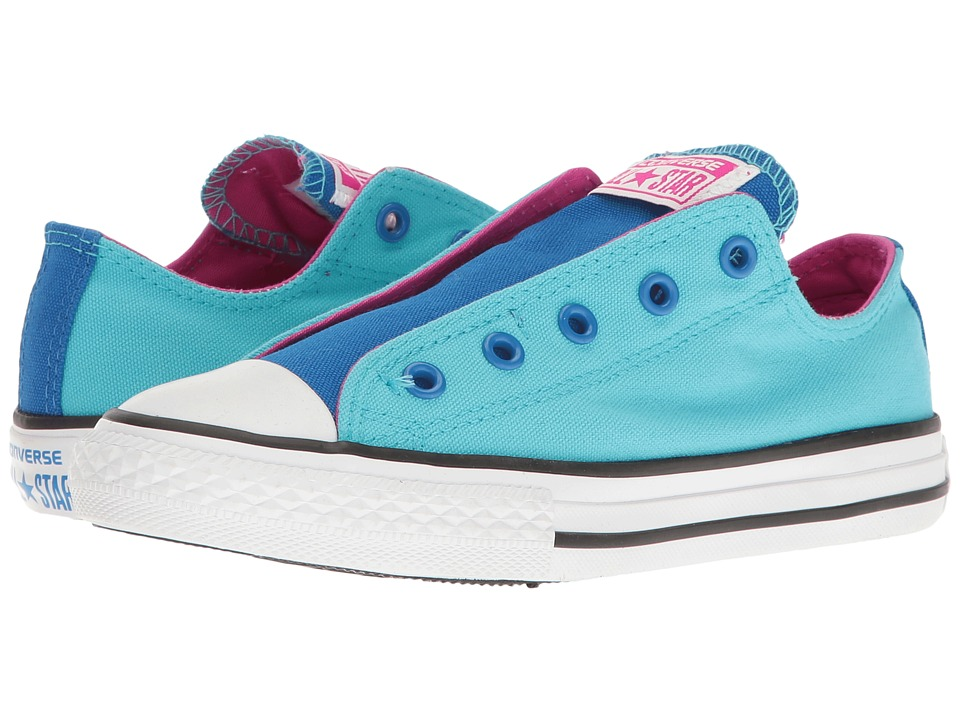 Converse Kids Chuck Taylor All Star Slip (Little Kid/Big Kid) (Fresh Cyan/Soar/Magenta Glow) Girl