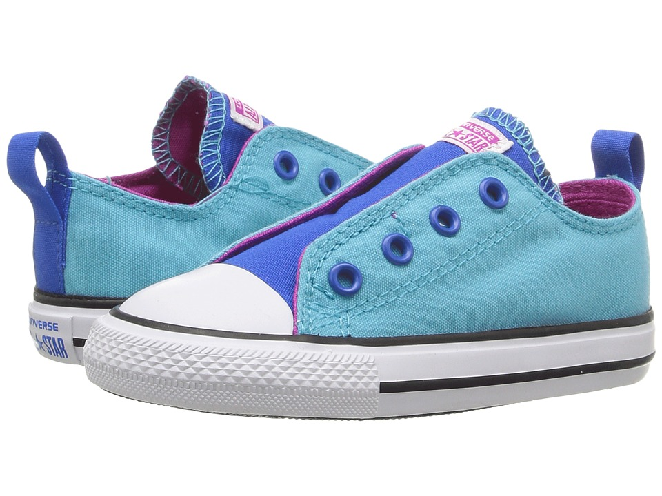 Converse Kids Chuck Taylor All Star Simple Slip Ox (Infant/Toddler) (Fresh Cyan/Magenta Glow/White) Girl