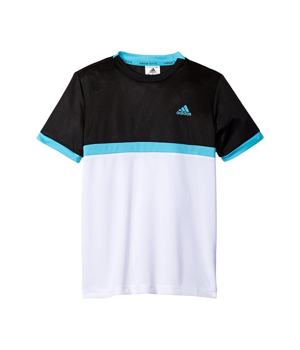 adidas Kids Court Tee (Little Kids/Big Kids) (Black/White/Samba Blue) Boy