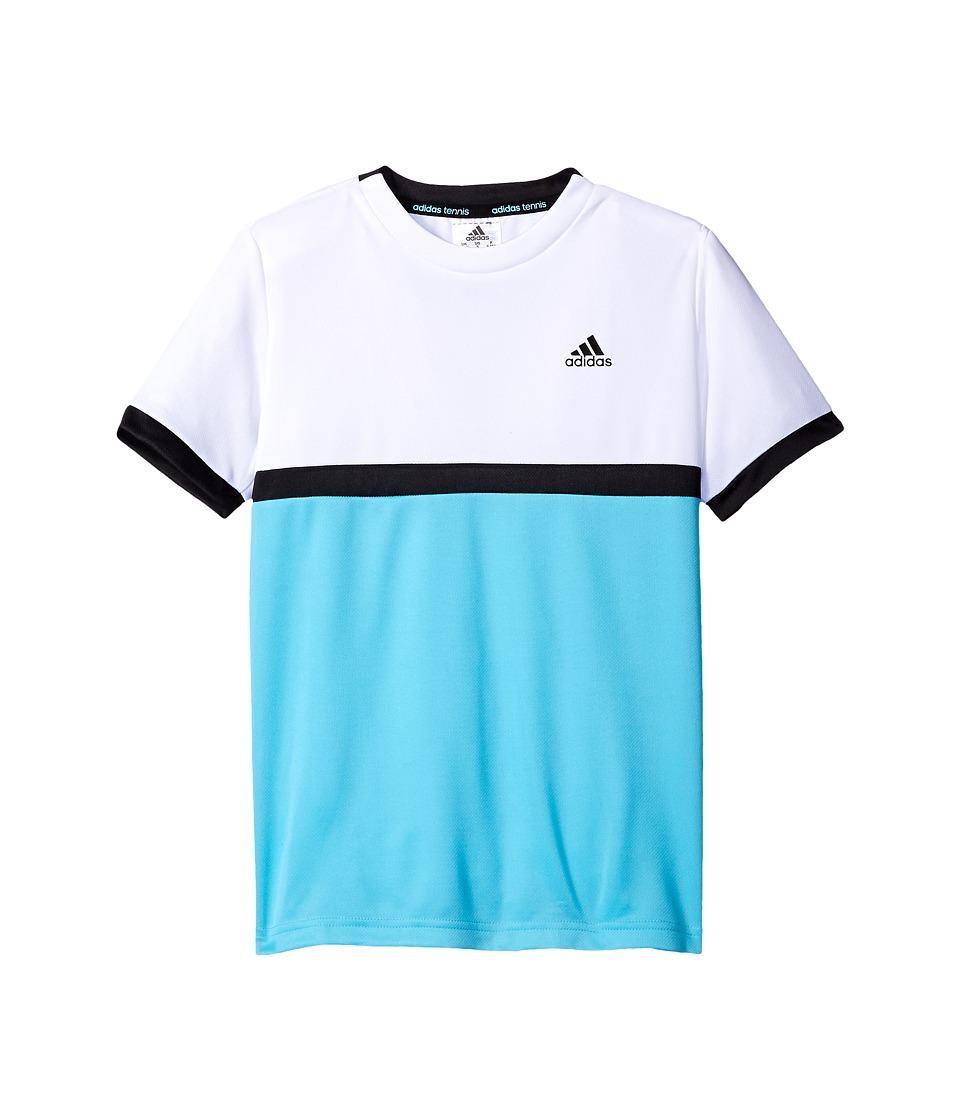 adidas Kids Court Tee (Little Kids/Big Kids) (White/Samba Blue/Black) Boy