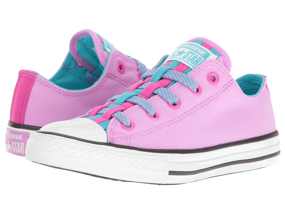 Converse Kids Chuck Taylor All Star Loopholes Ox (Little Kid/Big Kid) (Fuchsia Glow/Fresh Cyan/White) Girl