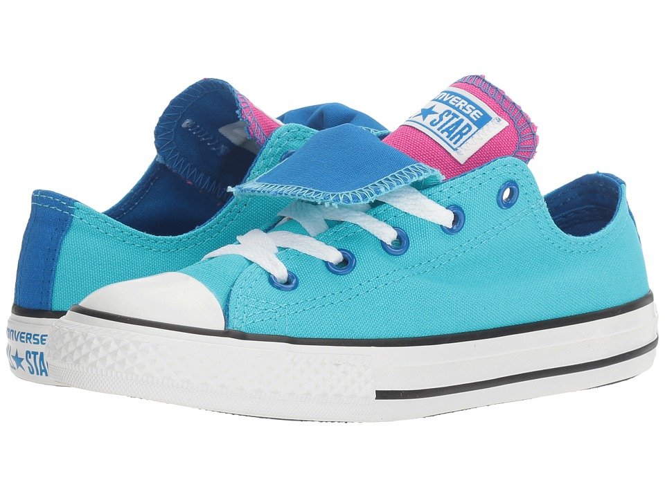 Converse Kids Chuck Taylor All Star Double Tongue Ox (Little Kid/Big Kid) (Fresh Cyan/Soar/White) Girl