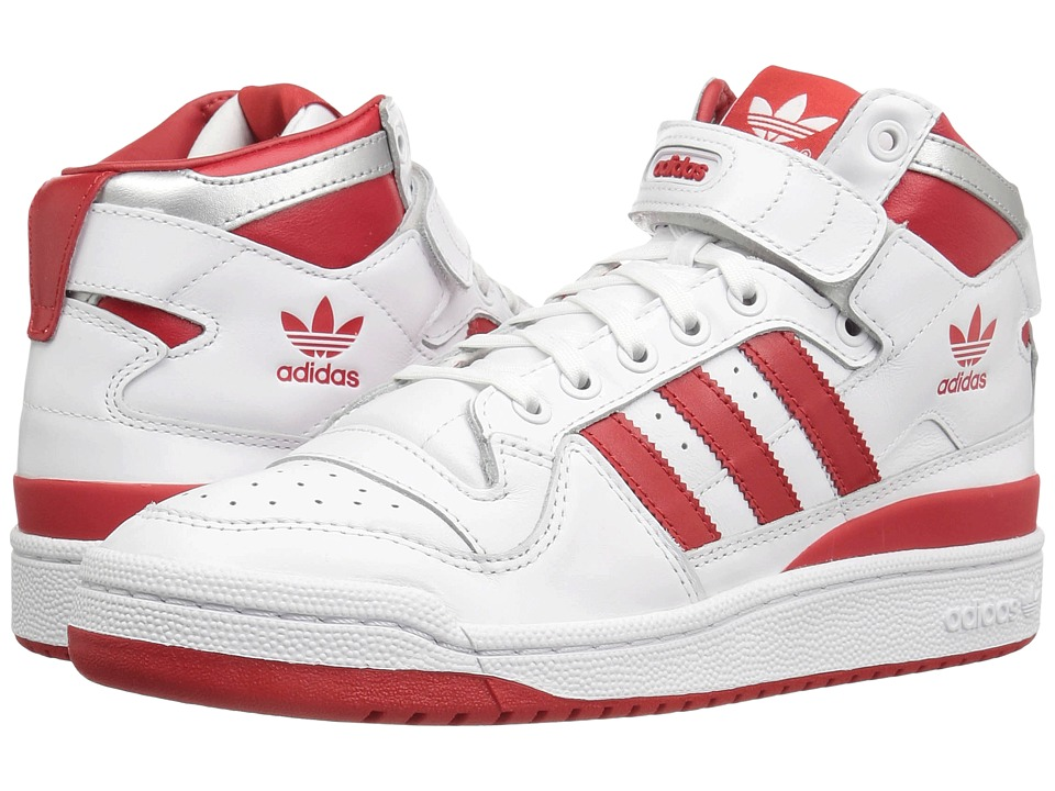 adidas Originals - Forum Mid Refined (Footwear White/Scarlet/Silver Metallic) Mens Basketball Shoes