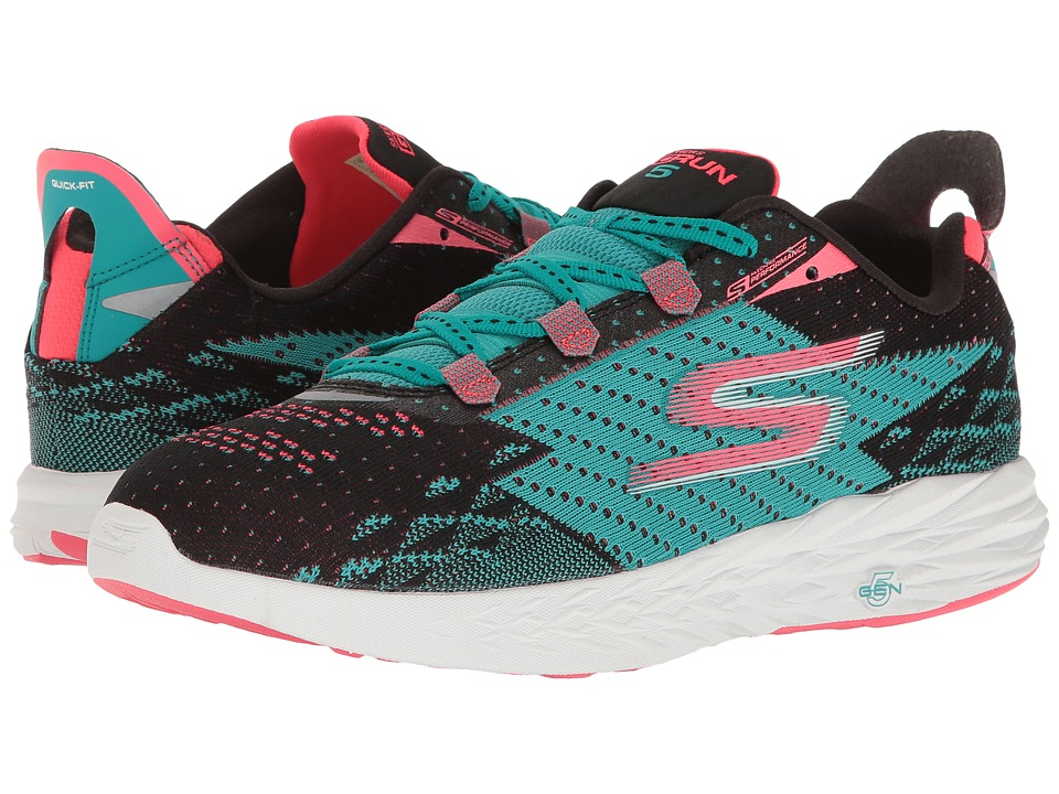 SKECHERS - Go Run 5 (Black/Teal) Womens Running Shoes