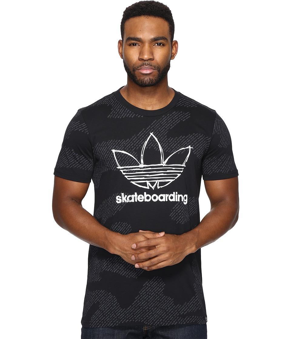adidas Skateboarding Clima 3.0 Word Camo Tee (Black/DGH Solid Grey) Men