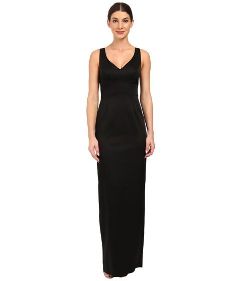 Adrianna Papell V-Neck Ottoman Column Gown