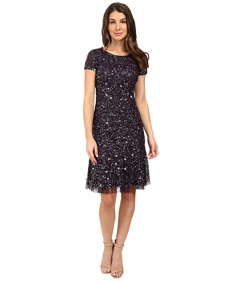 Adrianna Papell Short Sleeve Crunchy Beaded Short Dress with Godets