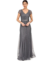 Adrianna Papell - Short Sleeve V-Neck Gown with Godets