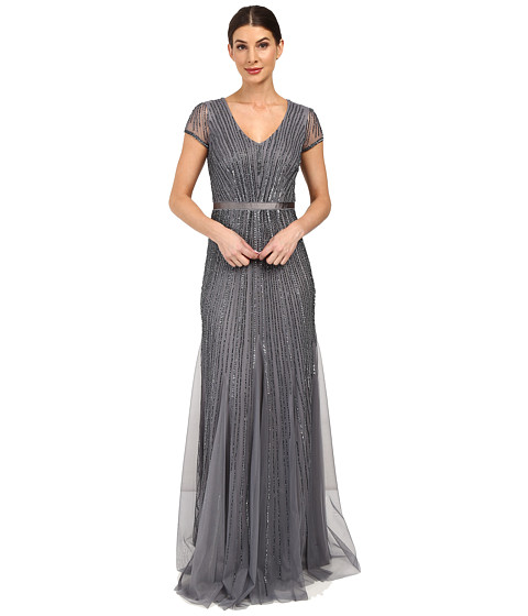 Adrianna Papell Short Sleeve V-Neck Gown with Godets - Sterling