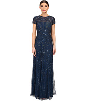 Adrianna Papell - Short Sleeve Fully Beaded Gown
