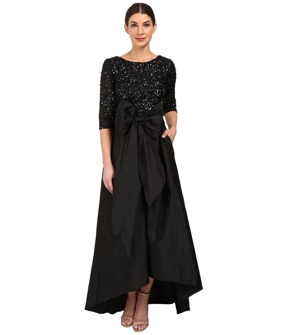 Image of Adrianna Papell - 3/4 Sleeve Beaded Bodice Taffta Gown (Black) Women's Dress