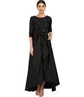Adrianna Papell - 3/4 Sleeve Beaded Bodice Taffta Gown