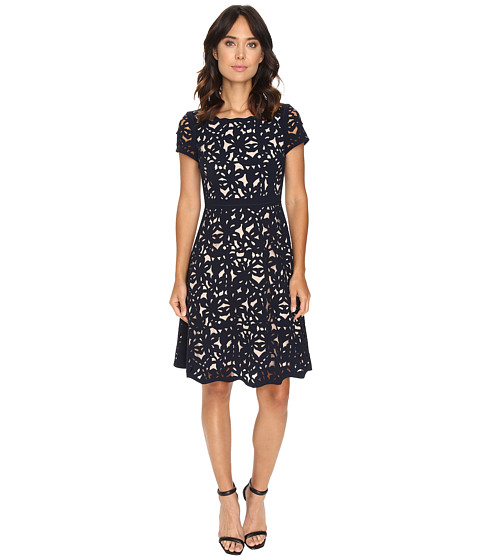 NUE by Shani Laser Cutting Fit and Flare Dress